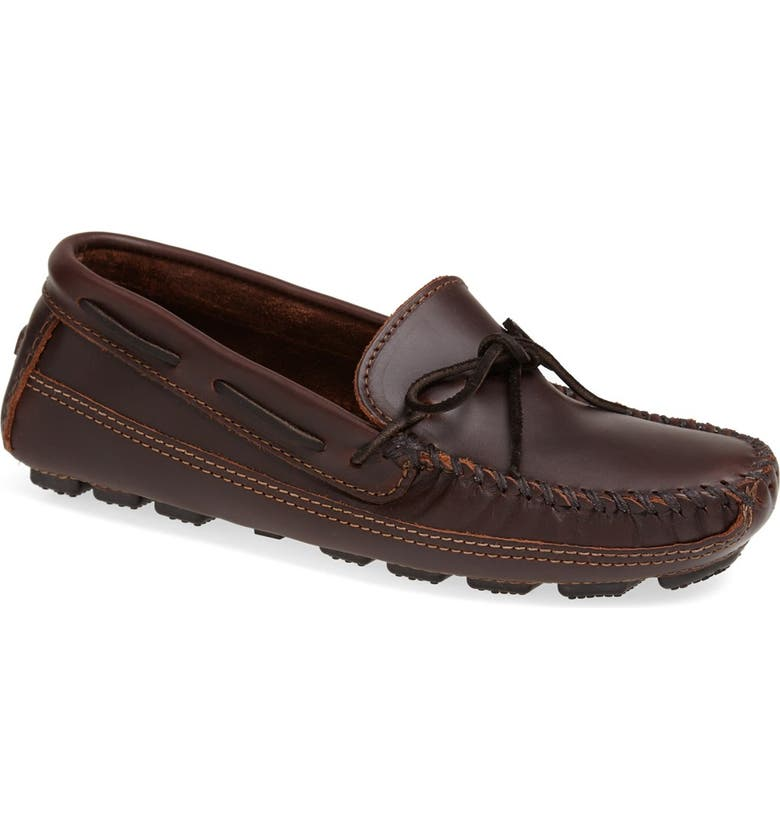 MINNETONKA Leather Driving Shoe, Main, color, BROWN