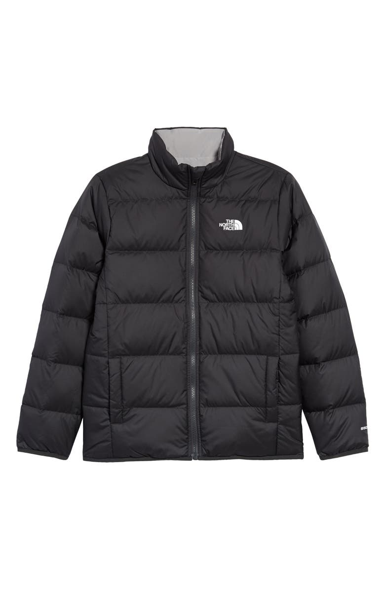 THE NORTH FACE Kids' Andes Reversible Water Repellent 550 Fill Power Down Jacket, Main, color, ASPHALT GREY