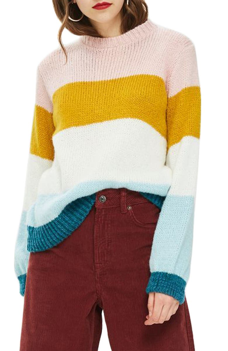 TOPSHOP Colorblock Knit Pullover, Main, color, 900