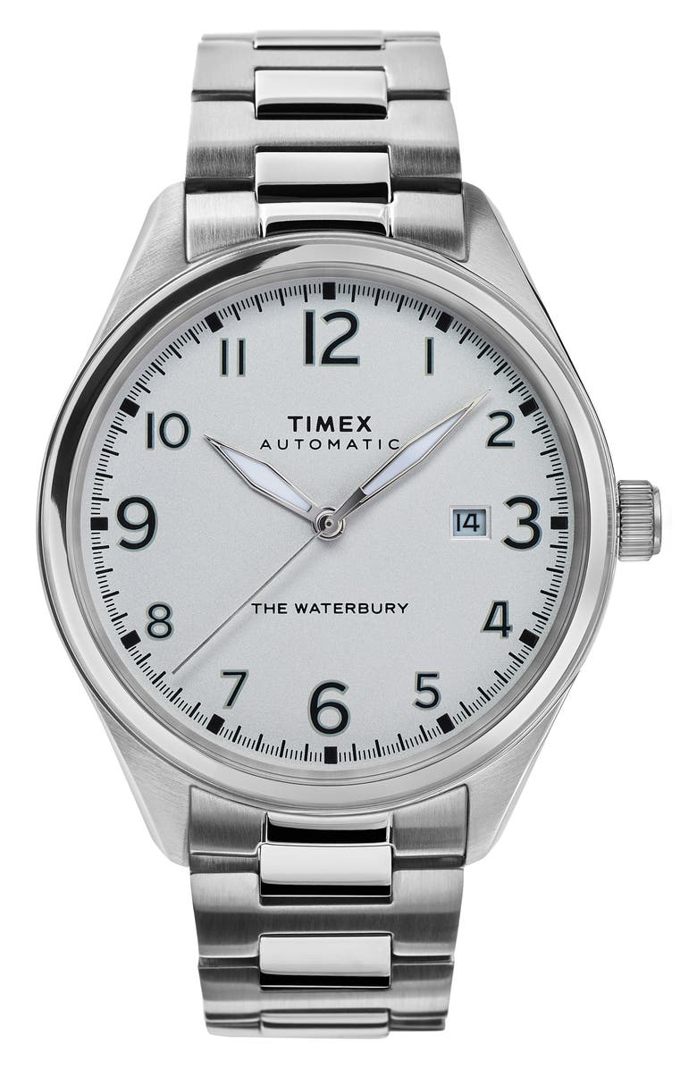 TIMEX<SUP>®</SUP> Waterbury Automatic Bracelet Watch, 42mm, Main, color, SILVER/ WHITE/ SILVER