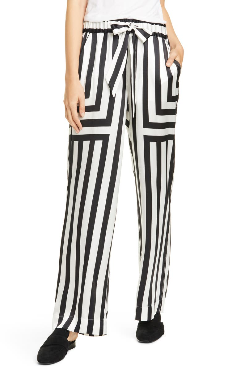 FRAME Mixed Stripe Silk PJ Pants, Main, color, 900