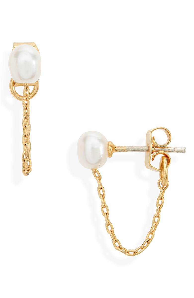 MADEWELL Freshwater Pearl Chain Stud Earrings, Main, color, VINTAGE GOLD