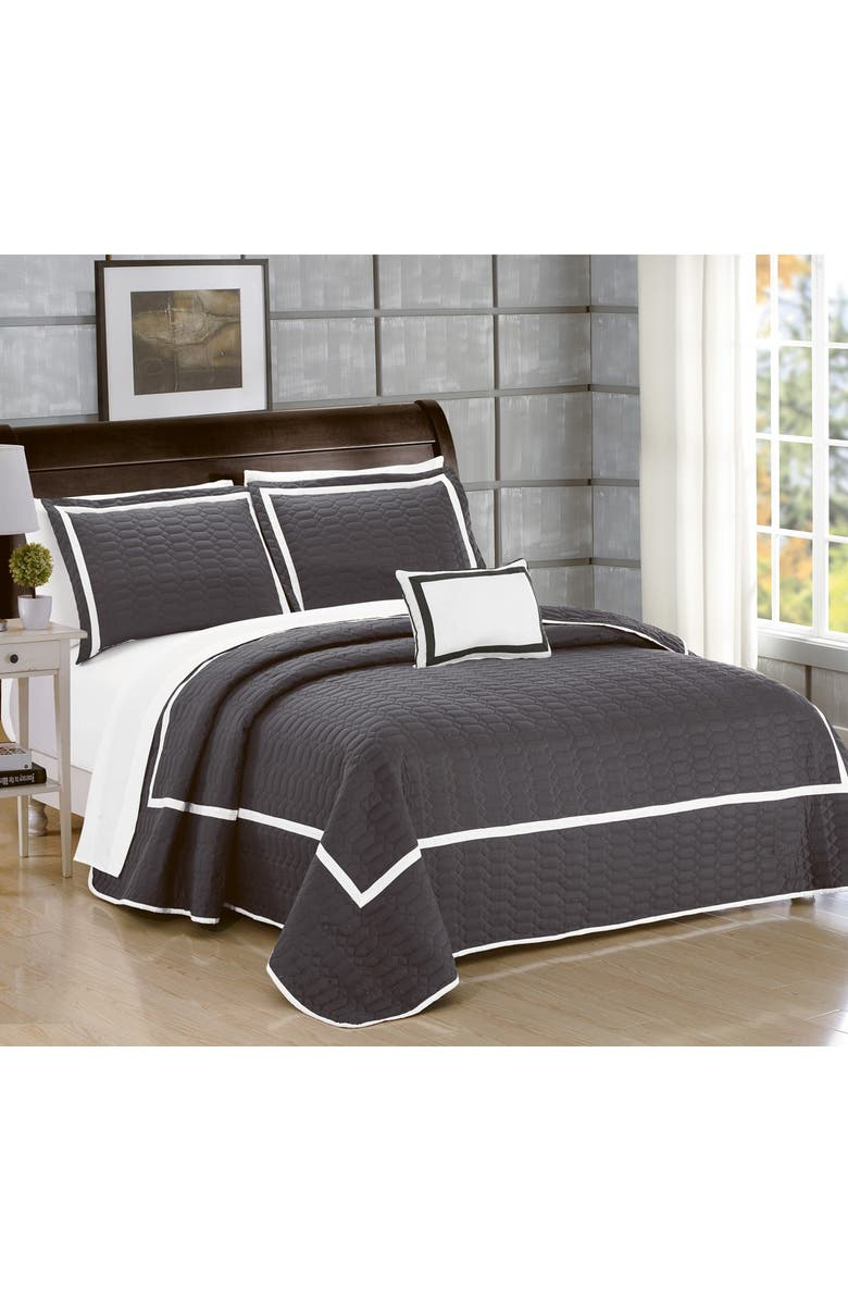 CHIC King Neal Hotel Collection Embroidered Bed in a Bag - Grey, Main, color, GREY