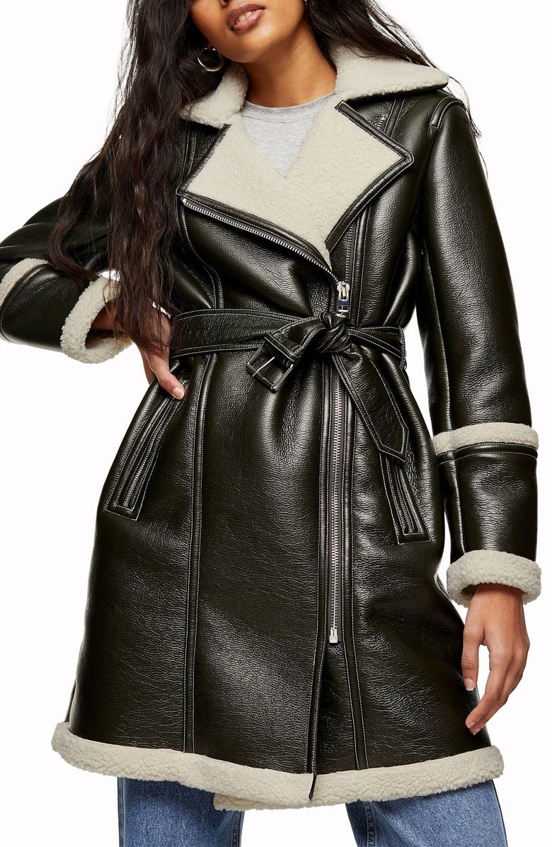 TOPSHOP Faux Leather & Faux Shearling Moto Jacket, Main, color, Dark Green