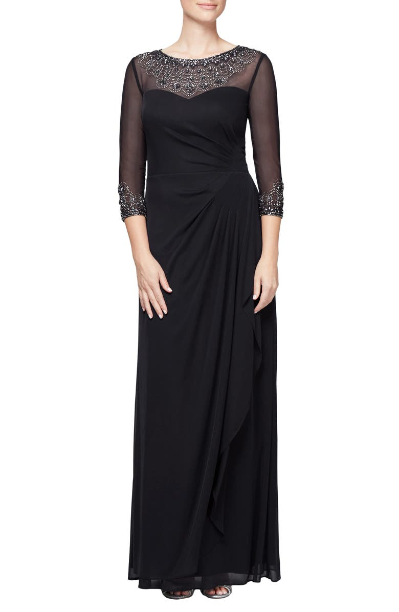 ALEX EVENINGS Embellished Chiffon Gown, Main, color, 001