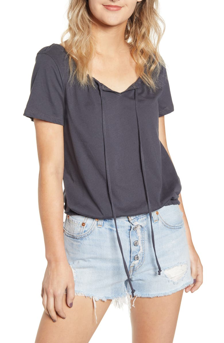 PST BY PROJECT SOCIAL T Cinch Neck Top, Main, color, 001