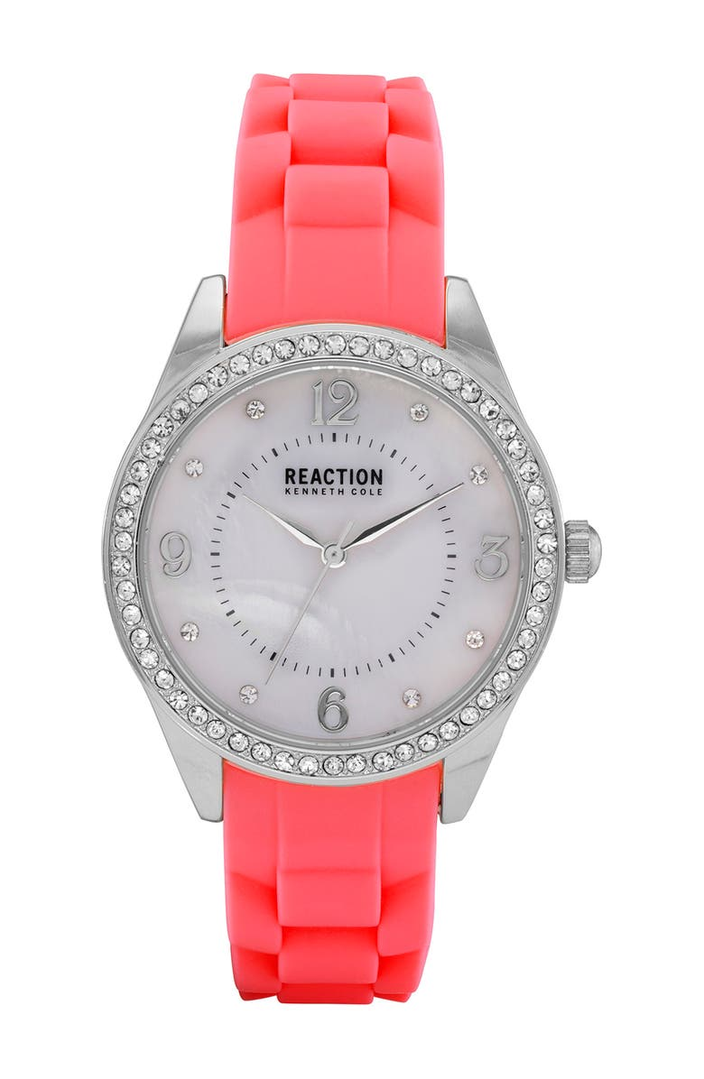KENNETH COLE REACTION Women's Reaction 3-Hand Red Silicone Strap Watch, 46mm, Main, color, RED
