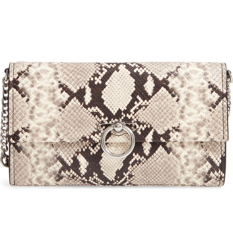 REBECCA MINKOFF Jean Snake Embossed Leather Clutch, Main, color, 100