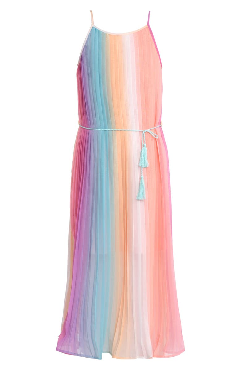 TRULY ME Rainbow Pleated Dress, Main, color, PINK