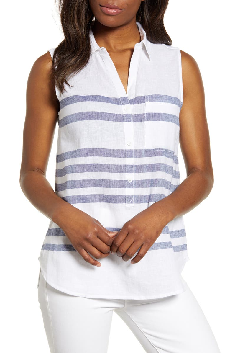 BEACHLUNCHLOUNGE Ammara Stripe Linen & Cotton Top, Main, color, 134