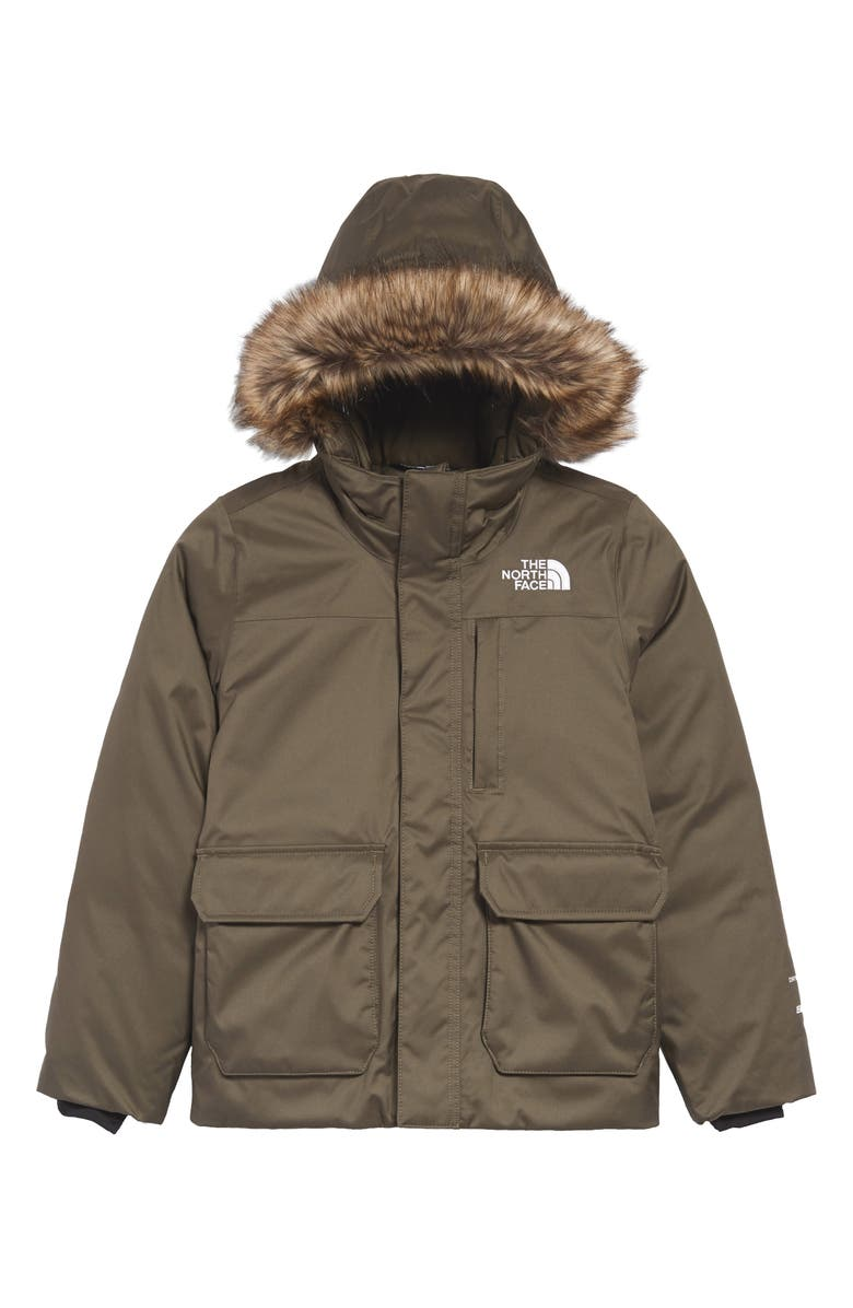 THE NORTH FACE Kids' Greenland Waterproof 550-Fill-Power Down Jacket with Faux Fur Trim, Main, color, NEW TAUPE GREEN