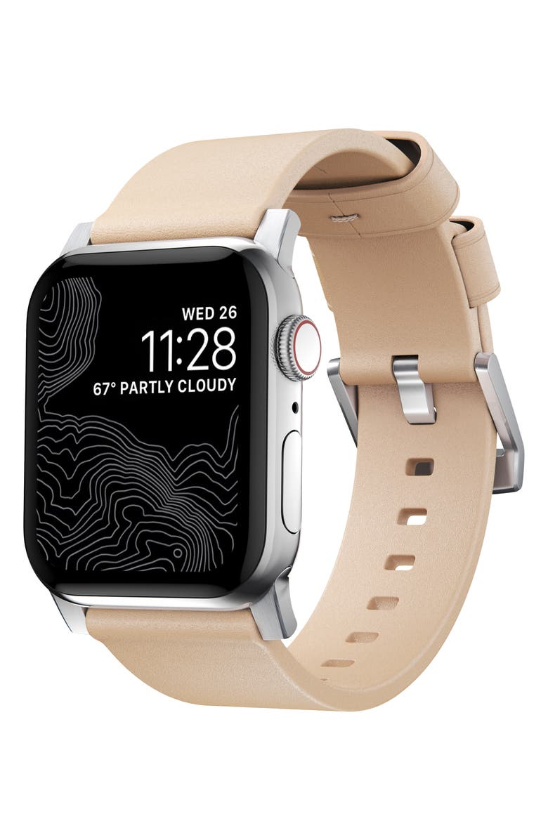 NOMAD Modern Leather Apple Watch<sup>®</sup> Strap, Main, color, SILVER/ NATURAL