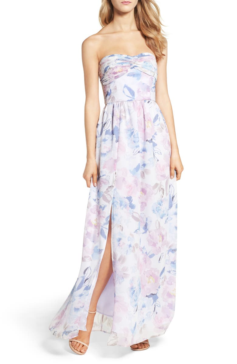 PLUM PRETTY SUGAR Floral Strapless Gown, Main, color, VEILED