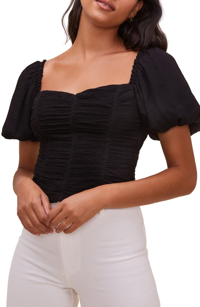 ASTR THE LABEL Serafina Puff Sleeve Top, Main, color, BLACK