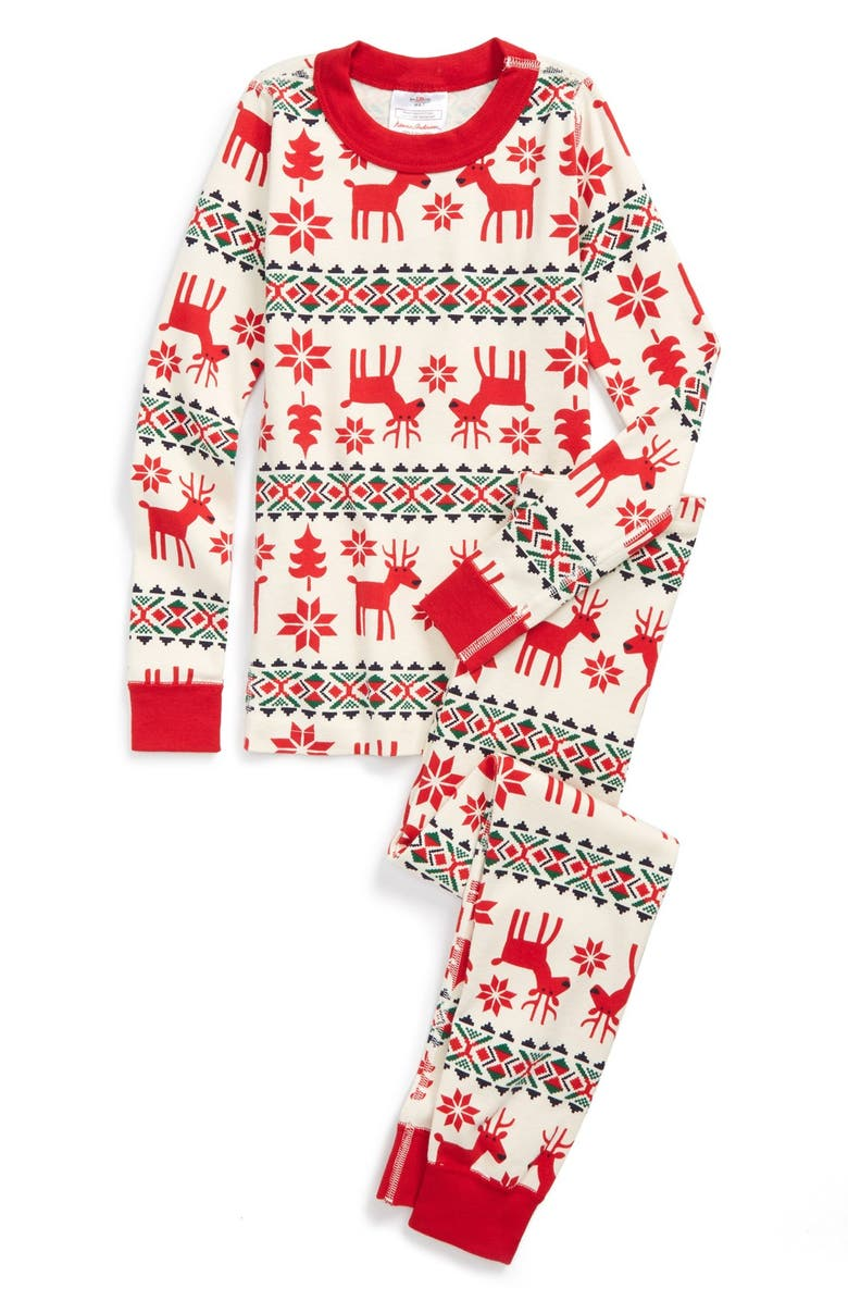 HANNA ANDERSSON 'Holiday Dear Deer' Organic Cotton Two-Piece Fitted Pajamas, Main, color, 603