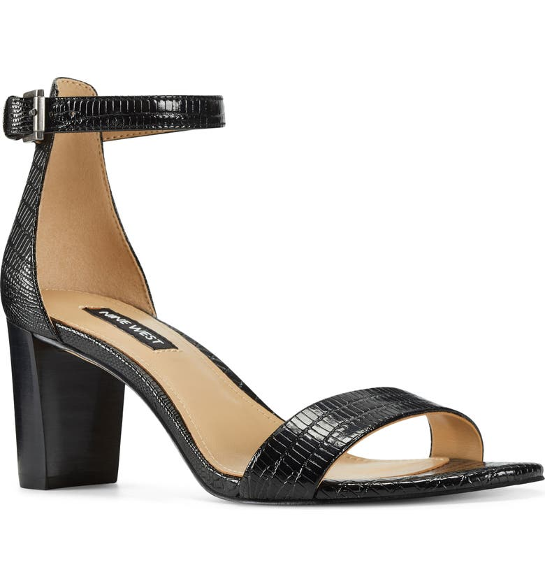 NINE WEST Pruce Ankle Strap Sandal, Main, color, BLACK LIZARD