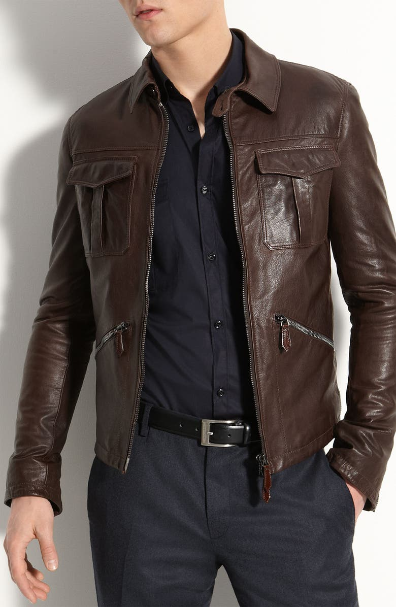 BURBERRY London Leather Bomber Jacket, Main, color, Dark Brown