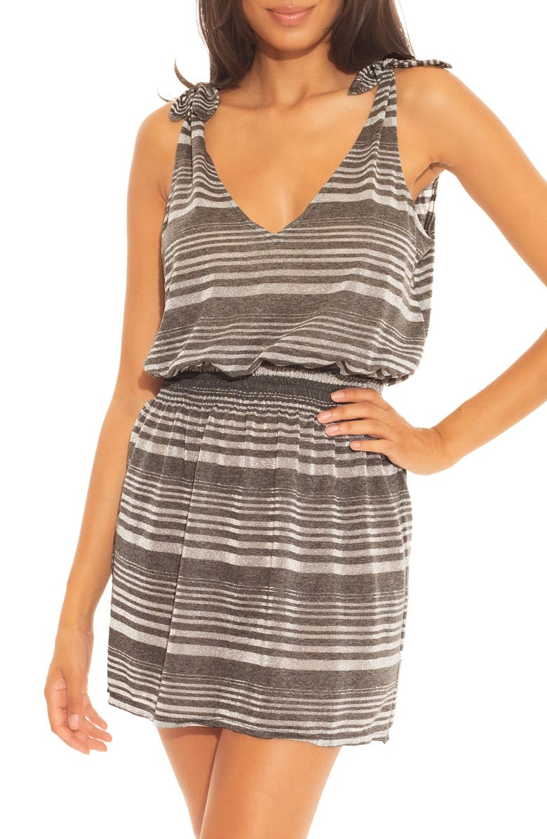 BECCA Shimmer Plunge Cover-Up Dress, Main, color, CHARCOAL
