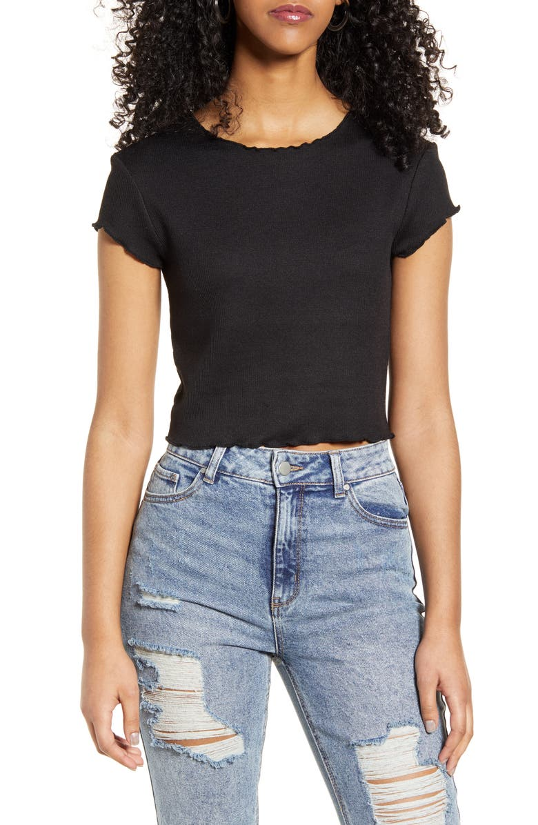 ONLY Kitty Lettuce Edge Crop Top, Main, color, 001