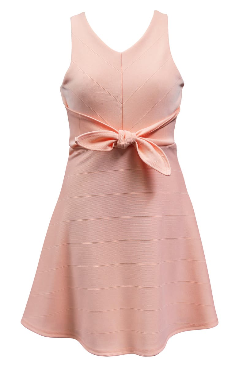 AVA & YELLY Knotted Skater Dress, Main, color, PEACH