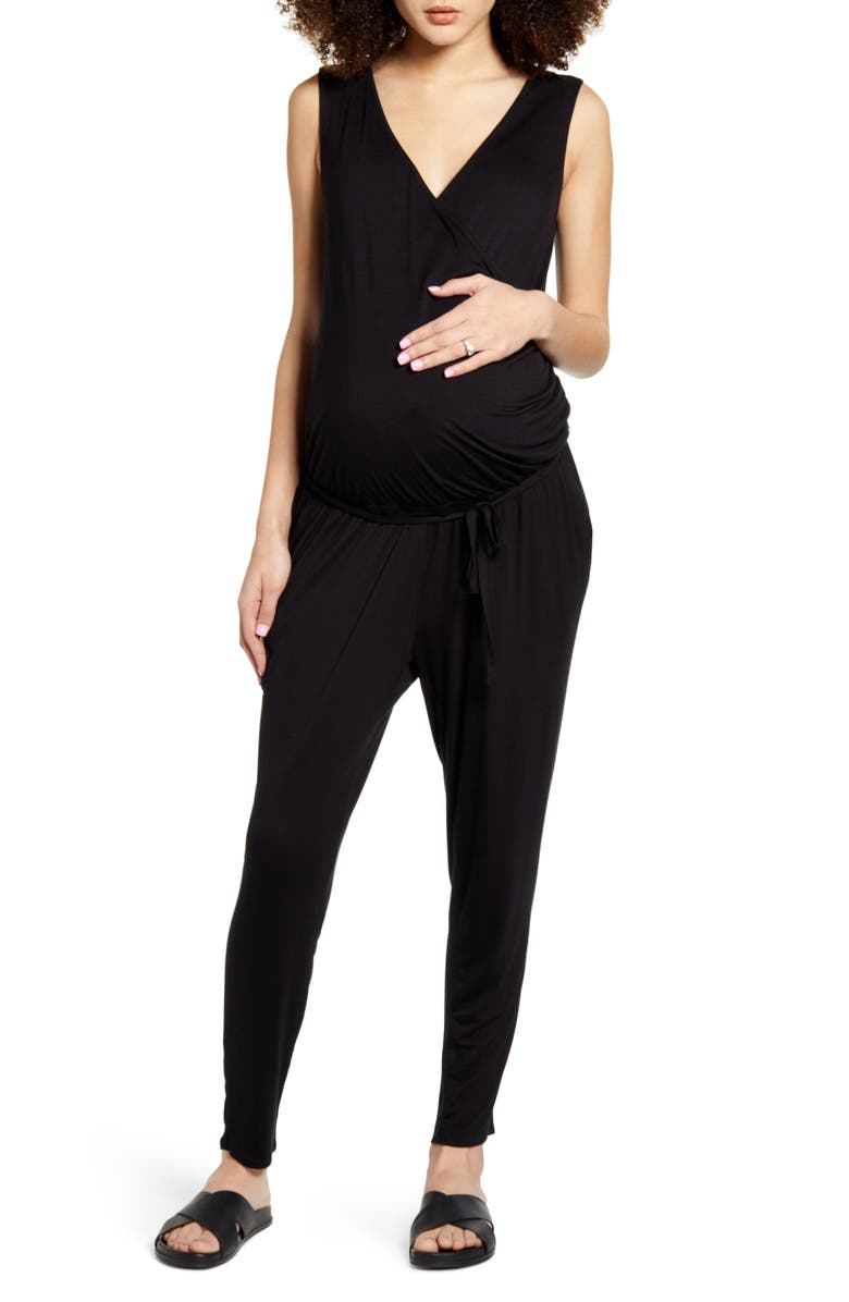 FOURTEENTH PLACE Belted Jersey Maternity Jumpsuit, Main, color, BLACK