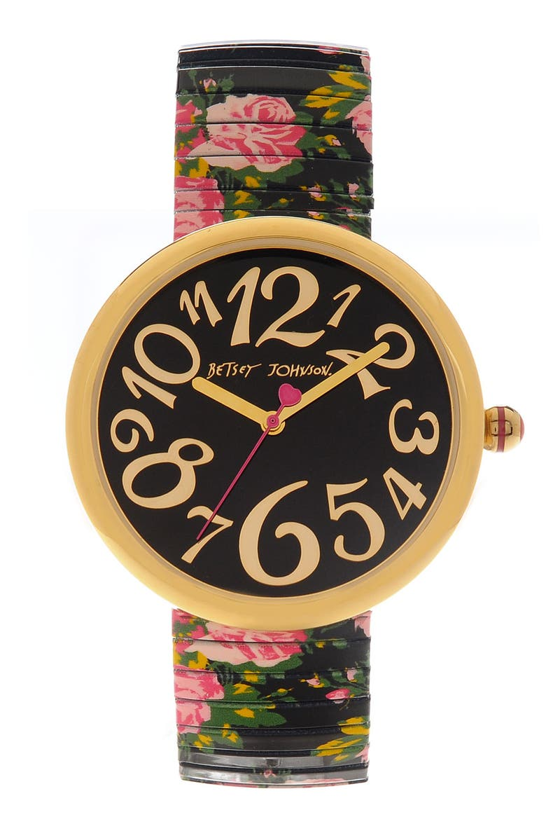 BETSEY JOHNSON 'Lots 'n' Lots of Time' Expansion Band Watch, Main, color, Black