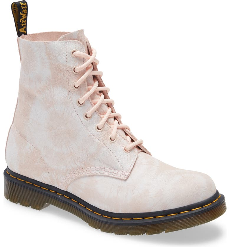 DR. MARTENS 1460 Pascal Tie Dye Boot, Main, color, SHELL PINK/WHITE SUEDE
