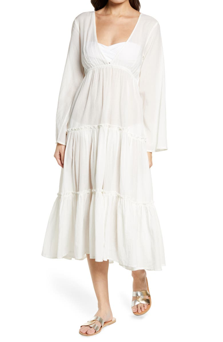 BILLABONG x The Salty Blonde Wanderlust Long Sleeve Cover-Up Maxi Dress, Main, color, COOL WIP