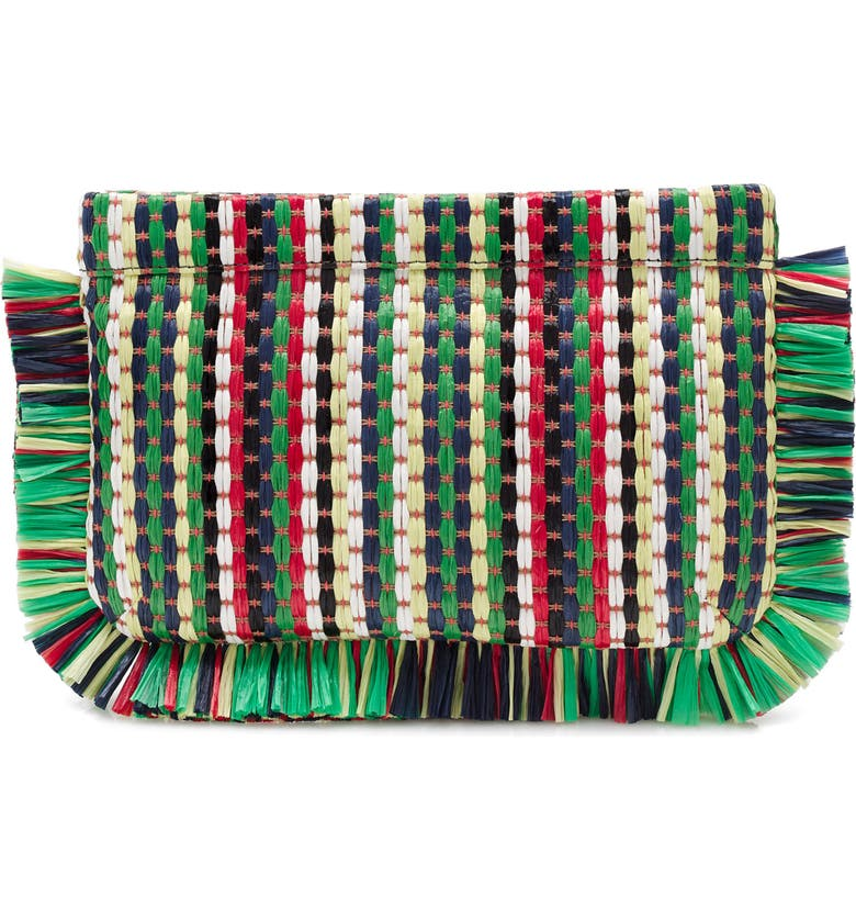 J.CREW Stripe Straw Clutch Bag, Main, color, YELLOW/ RED/ WHITE