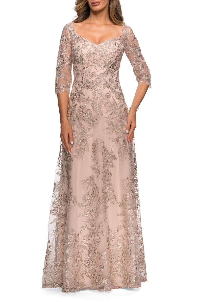 LA FEMME Floral Embroidered Mesh A-Line Gown, Main, color, CHAMPAGNE