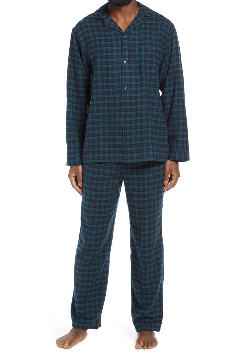 NORDSTROM 824 Flannel Pajamas, Main, color, NAVY - GREEN MINI EVEN PLAID