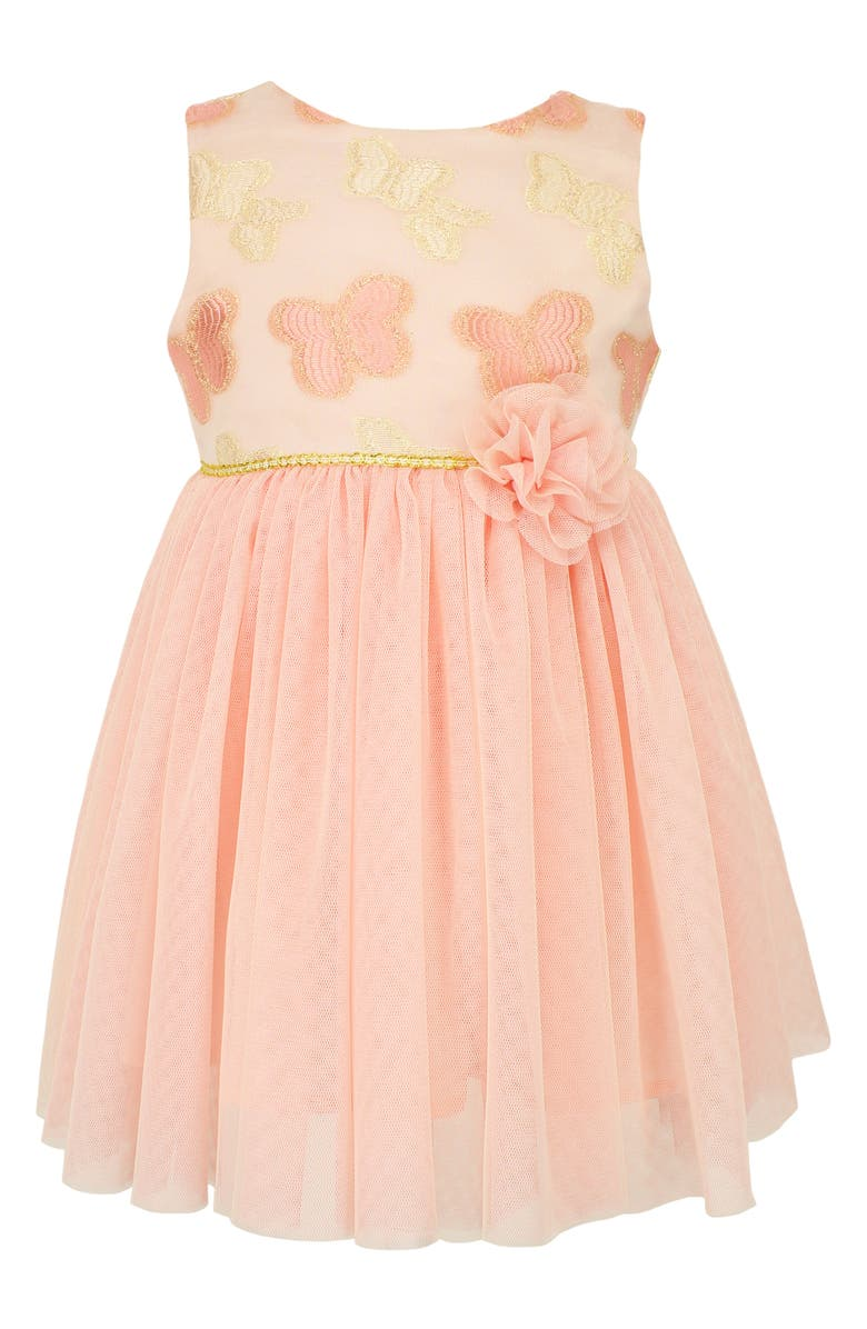 POPATU Kids' Embroidered Butterfly Tulle Dress, Main, color, PEACH