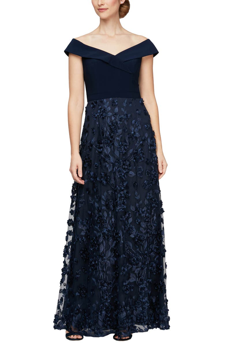 ALEX EVENINGS Mixed Media Off the Shoulder Gown, Main, color, NAVY