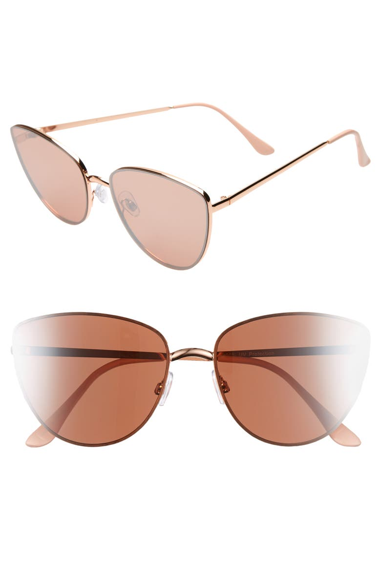 BP. Rimless Cat Eye Sunglasses, Main, color, ROSE GOLD