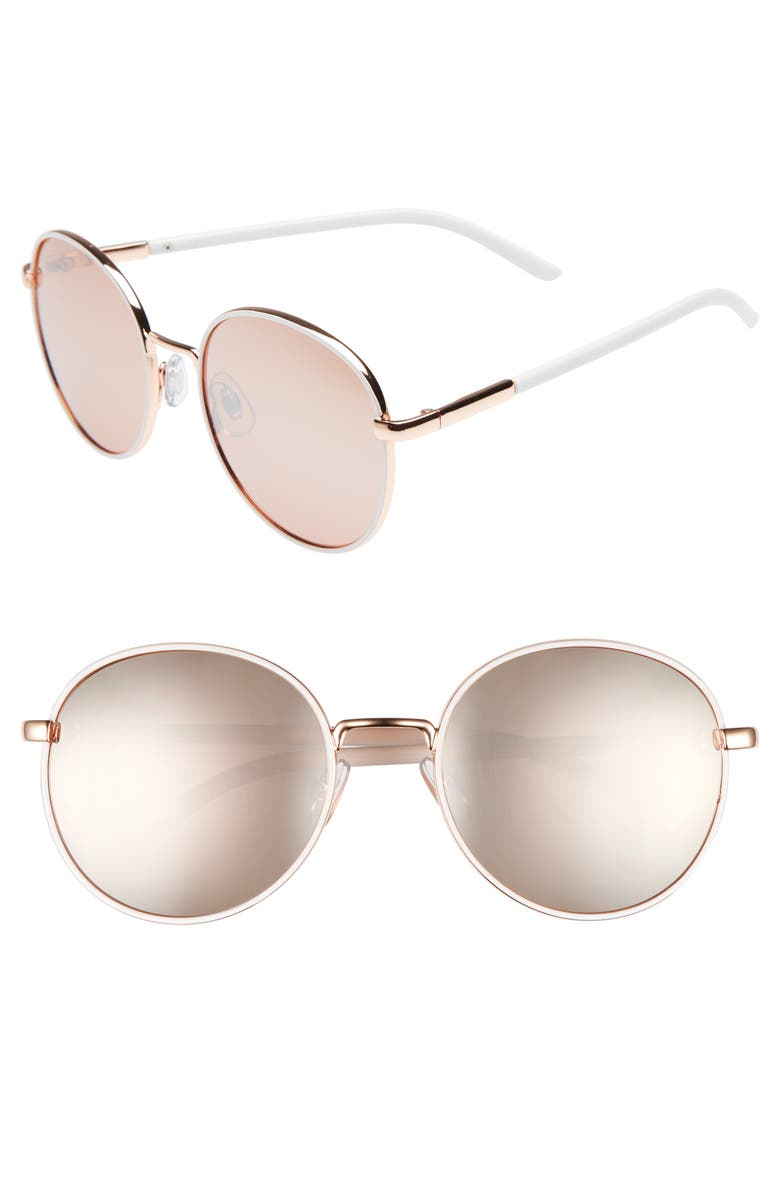 BP. 55mm Round Sunglasses, Main, color, WHITE/ ROSE GOLD