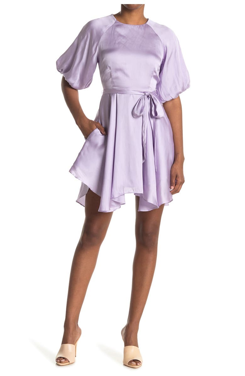 DO AND BE Satin Belted Puff Sleeve Dress, Main, color, LAVENDER