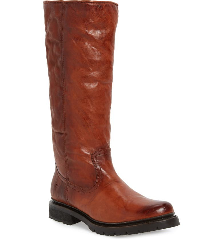 FRYE Vanessa Genuine Shearling Lined Knee High Boot, Main, color, COGNAC LEATHER