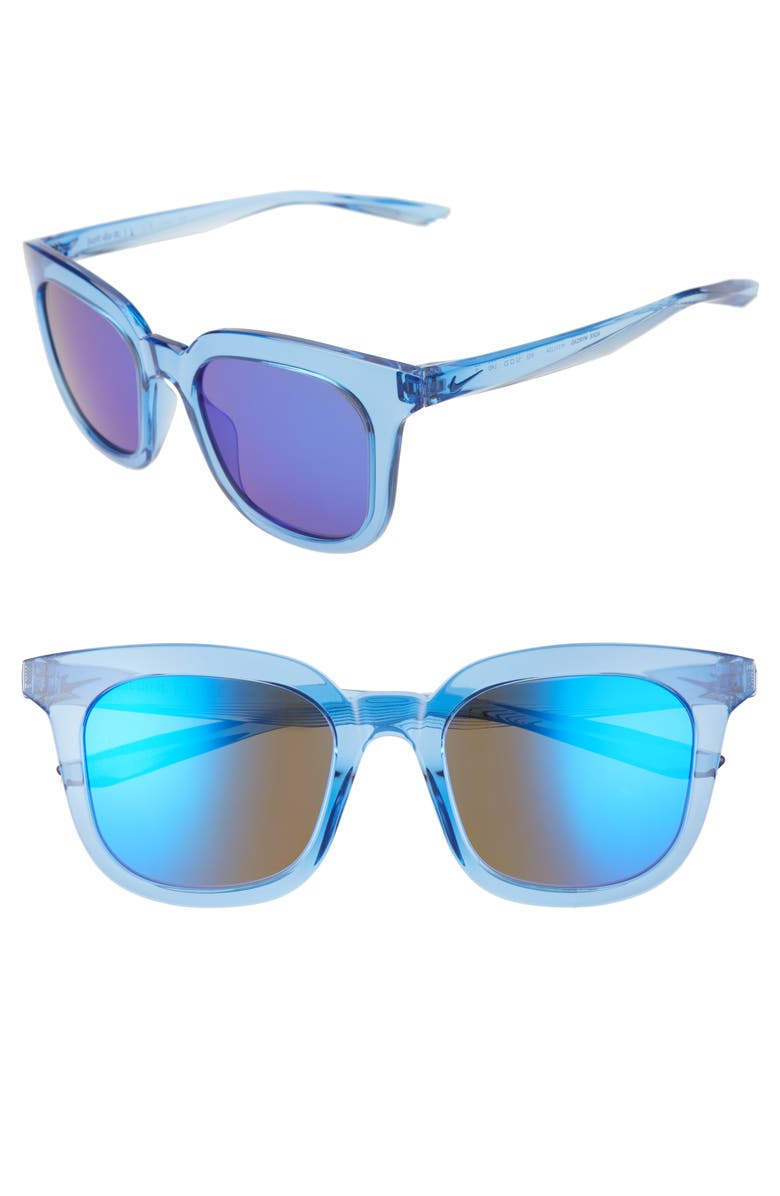 NIKE Myriad 52mm Mirrored Square Sunglasses, Main, color, PACIFIC BLUE/ ULTRAVIOLET