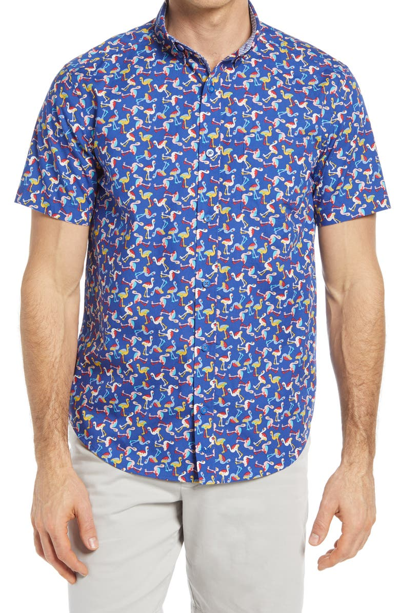 JOHNSTON & MURPHY Flamingo Print Short Sleeve Button-Down Shirt, Main, color, NAVY