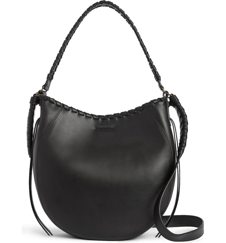 ALLSAINTS Courtney Leather Hobo, Main, color, 001
