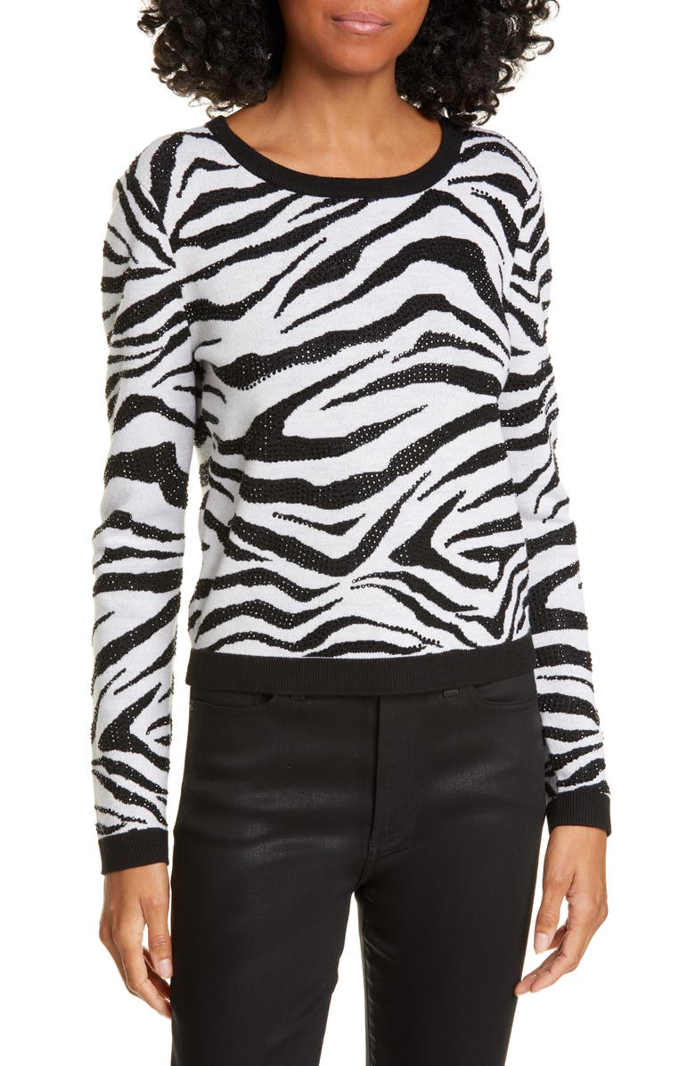 ALICE + OLIVIA Connie Animal Print Stud Detail Stretch Wool Sweater, Main, color, 011
