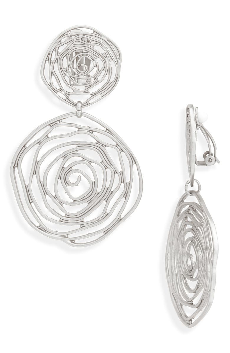 KARINE SULTAN Oversize Rose Cutout Drop Clip Earrings, Main, color, Silver