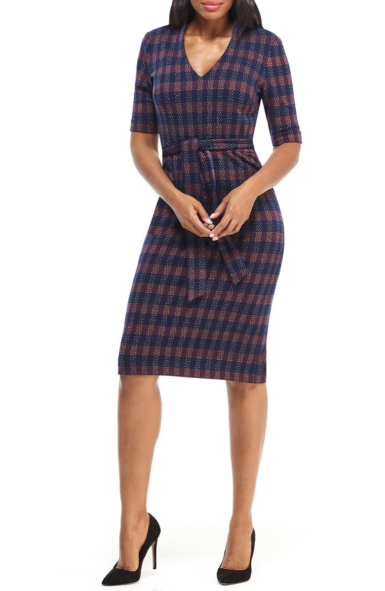 MAGGY LONDON Metallic Plaid Belted Sheath Dress, Main, color, 411