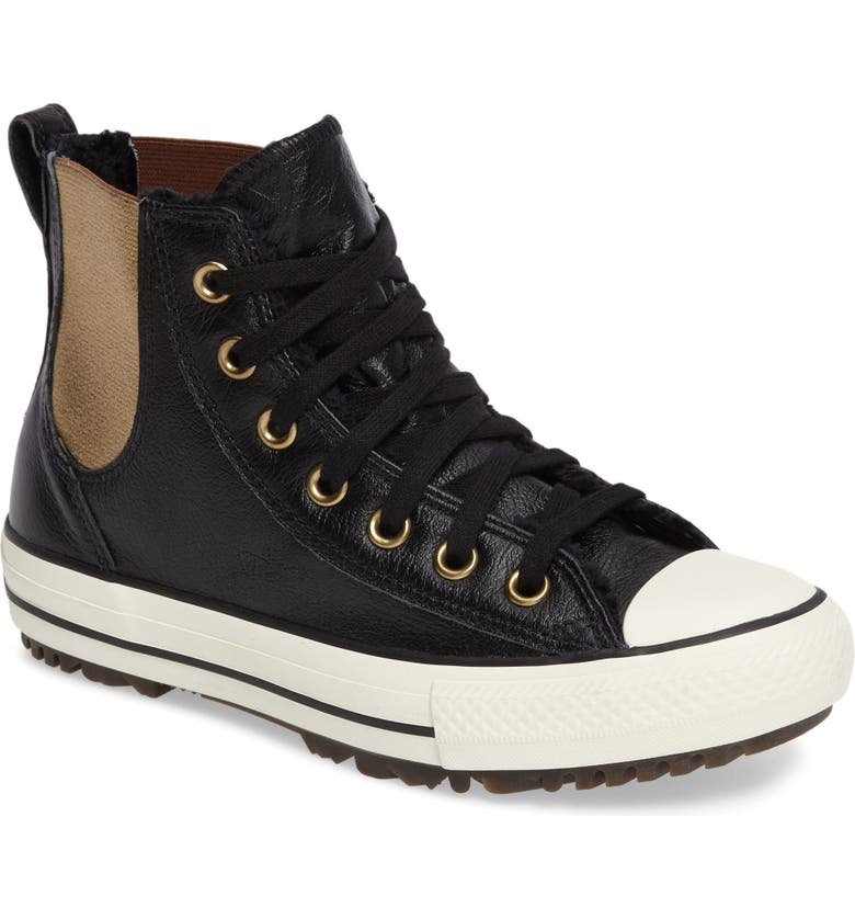 CONVERSE Chuck Taylor<sup>®</sup> All Star<sup>®</sup> Faux Fur Chelsea Sneaker, Main, color, 001