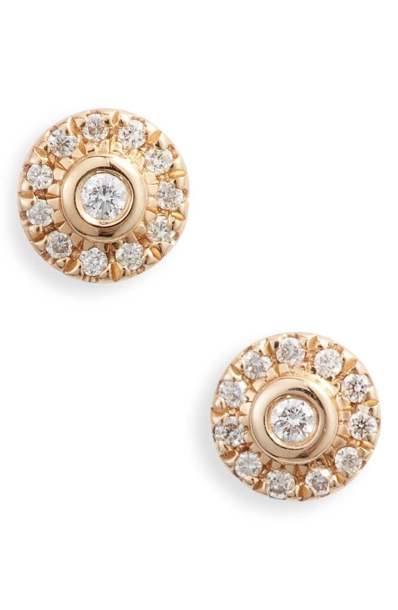 DANA REBECCA DESIGNS Lauren Joy Mini Diamond Disc Stud Earrings, Main, color, 710