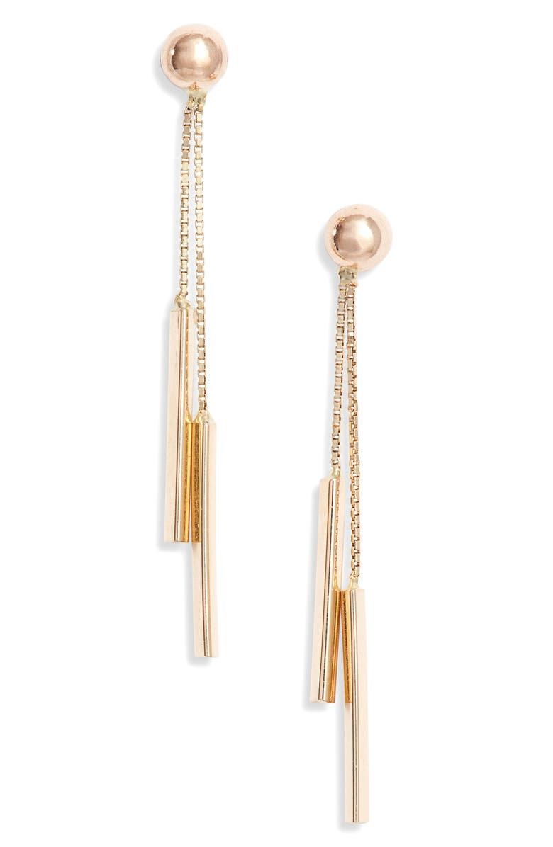 BONY LEVY 14K Gold Double Bar Drop Earrings, Main, color, YELLOW GOLD