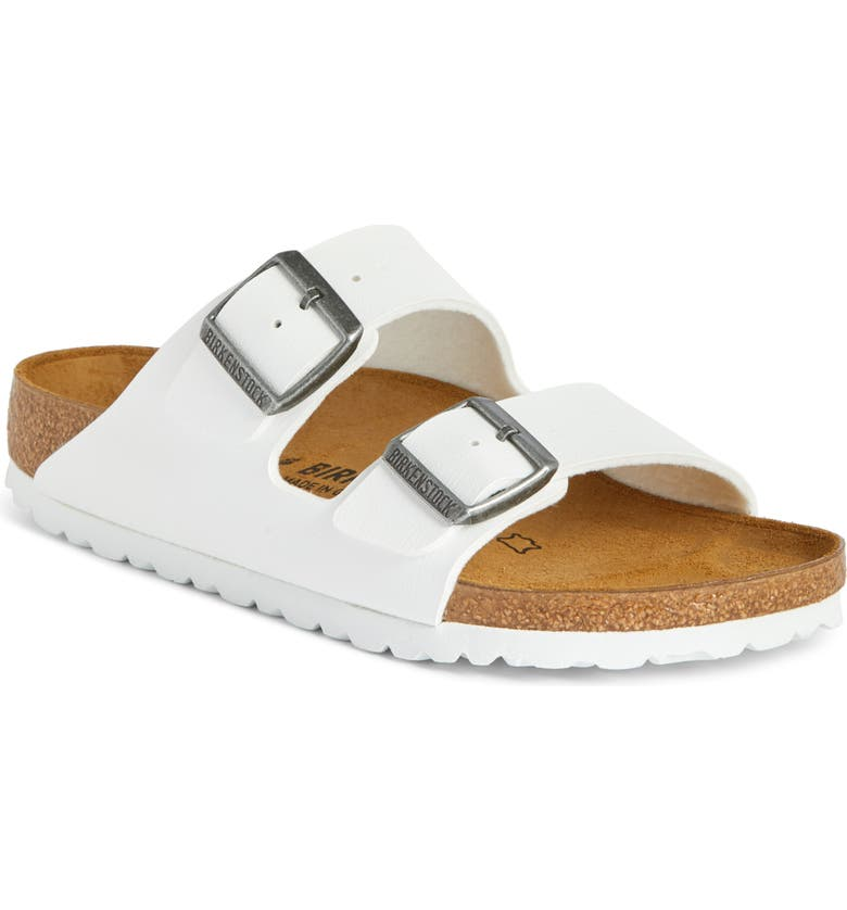 BIRKENSTOCK Arizona Birko-Flor Sandal, Main, color, WHITE SYNTHETIC LEATHER