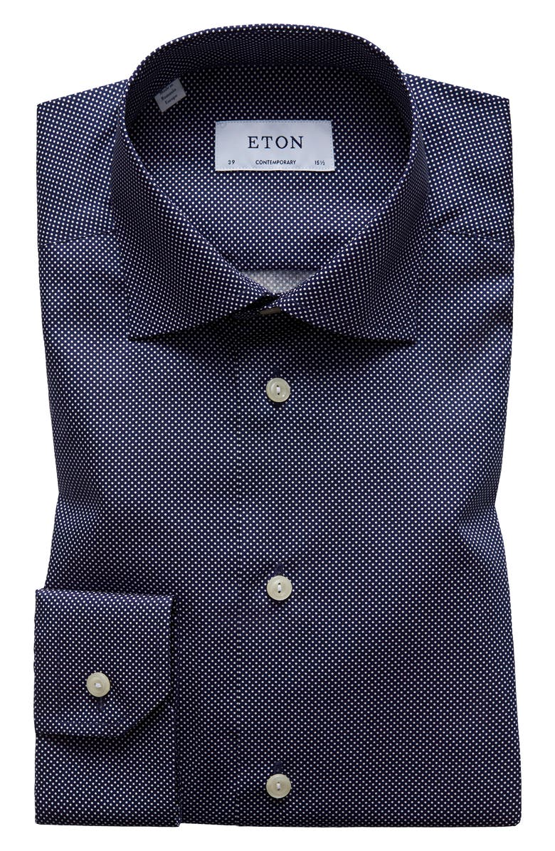 ETON Contemporary Fit Signature Polka Dot Dress Shirt, Main, color, BLUE