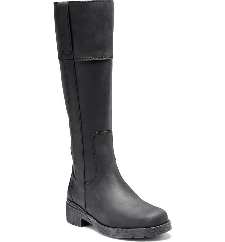 TIMBERLAND Graceyn Waterproof Knee High Boot, Main, color, BLACK LEATHER