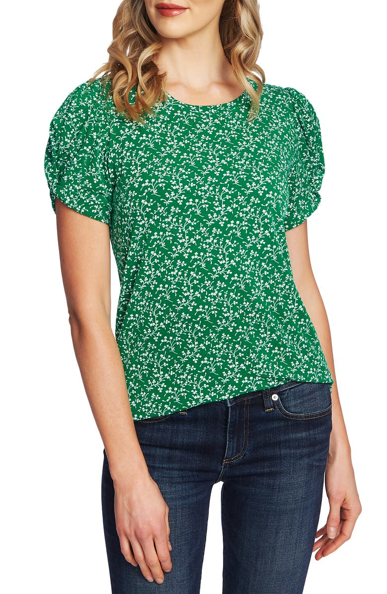 CECE Floral Print Puff Sleeve Top, Main, color, 334
